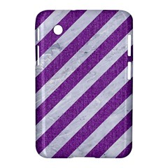 Stripes3 White Marble & Purple Denim (r) Samsung Galaxy Tab 2 (7 ) P3100 Hardshell Case