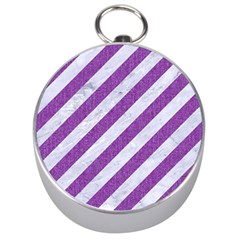 Stripes3 White Marble & Purple Denim (r) Silver Compasses by trendistuff