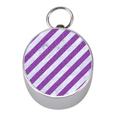 Stripes3 White Marble & Purple Denim (r) Mini Silver Compasses by trendistuff