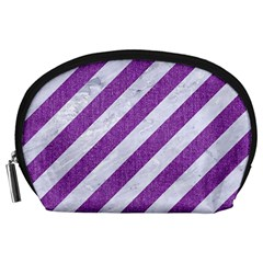 Stripes3 White Marble & Purple Denim (r) Accessory Pouches (large)