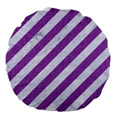 Stripes3 White Marble & Purple Denim (r) Large 18  Premium Flano Round Cushions