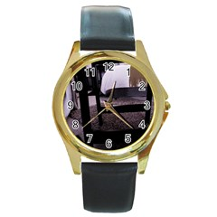 Colors And Fabrics 27 Round Gold Metal Watch by bestdesignintheworld
