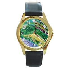 Yellow Boat And Coral Tree Round Gold Metal Watch