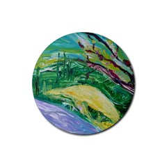 Yellow Boat And Coral Tree Rubber Coaster (round)