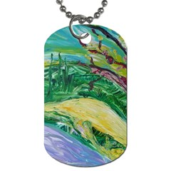 Yellow Boat And Coral Tree Dog Tag (one Side) by bestdesignintheworld