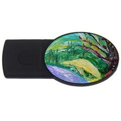 Yellow Boat And Coral Tree Usb Flash Drive Oval (2 Gb)