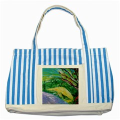 Yellow Boat And Coral Tree Striped Blue Tote Bag