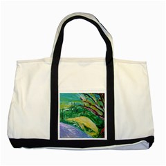 Yellow Boat And Coral Tree Two Tone Tote Bag