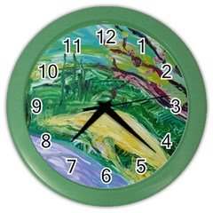 Yellow Boat And Coral Tree Color Wall Clocks