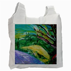 Yellow Boat And Coral Tree Recycle Bag (one Side)