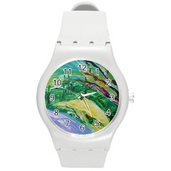 Yellow Boat And Coral Tree Round Plastic Sport Watch (m)
