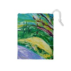 Yellow Boat And Coral Tree Drawstring Pouches (medium)
