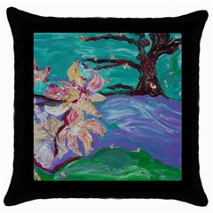 Magnolia By The River Bank Throw Pillow Case (black)