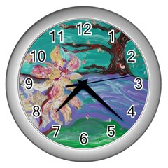 Magnolia By The River Bank Wall Clocks (silver)
