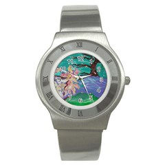 Magnolia By The River Bank Stainless Steel Watch