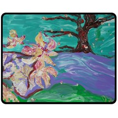 Magnolia By The River Bank Fleece Blanket (medium)
