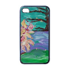 Magnolia By The River Bank Apple Iphone 4 Case (black)