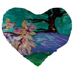 Magnolia By The River Bank Large 19  Premium Heart Shape Cushions