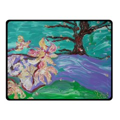 Magnolia By The River Bank Double Sided Fleece Blanket (small)
