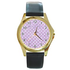 Scales2 White Marble & Purple Glitter (r) Round Gold Metal Watch by trendistuff