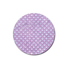 Scales2 White Marble & Purple Glitter (r) Rubber Round Coaster (4 Pack)