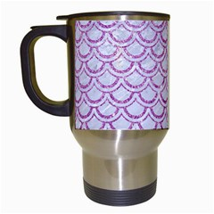 Scales2 White Marble & Purple Glitter (r) Travel Mugs (white)