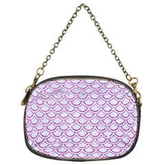 Scales2 White Marble & Purple Glitter (r) Chain Purses (two Sides)
