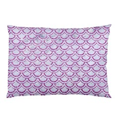 Scales2 White Marble & Purple Glitter (r) Pillow Case