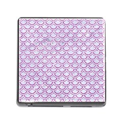 Scales2 White Marble & Purple Glitter (r) Memory Card Reader (square)