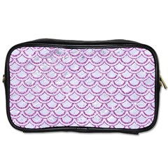 Scales2 White Marble & Purple Glitter (r) Toiletries Bags 2 Side