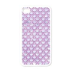 Scales2 White Marble & Purple Glitter (r) Apple Iphone 4 Case (white)