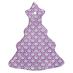 Scales2 White Marble & Purple Glitter (r) Christmas Tree Ornament (two Sides)