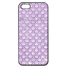 Scales2 White Marble & Purple Glitter (r) Apple Iphone 5 Seamless Case (black)