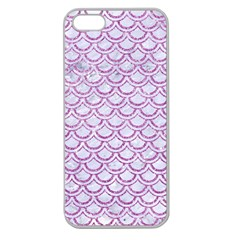 Scales2 White Marble & Purple Glitter (r) Apple Seamless Iphone 5 Case (clear)