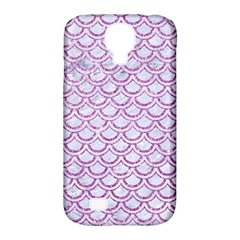 Scales2 White Marble & Purple Glitter (r) Samsung Galaxy S4 Classic Hardshell Case (pc+silicone)