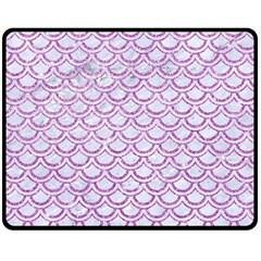 Scales2 White Marble & Purple Glitter (r) Double Sided Fleece Blanket (medium)  by trendistuff