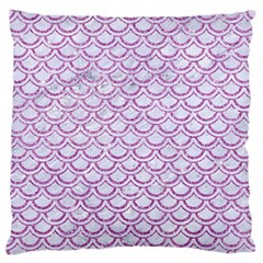 Scales2 White Marble & Purple Glitter (r) Large Flano Cushion Case (two Sides) by trendistuff