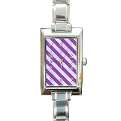Stripes3 White Marble & Purple Denim Rectangle Italian Charm Watch