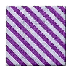 Stripes3 White Marble & Purple Denim Tile Coasters