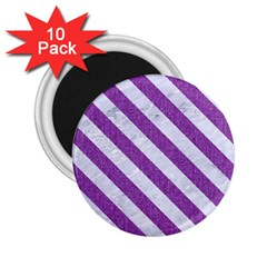 Stripes3 White Marble & Purple Denim 2 25  Magnets (10 Pack)  by trendistuff