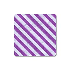 Stripes3 White Marble & Purple Denim Square Magnet by trendistuff
