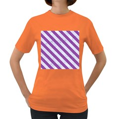 Stripes3 White Marble & Purple Denim Women s Dark T Shirt