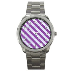 Stripes3 White Marble & Purple Denim Sport Metal Watch
