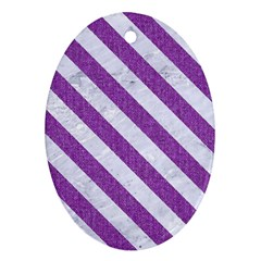 Stripes3 White Marble & Purple Denim Oval Ornament (two Sides)