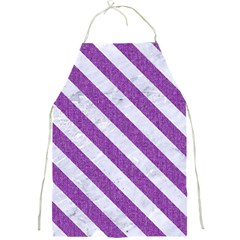 Stripes3 White Marble & Purple Denim Full Print Aprons