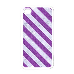 Stripes3 White Marble & Purple Denim Apple Iphone 4 Case (white)