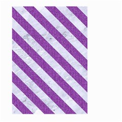 Stripes3 White Marble & Purple Denim Large Garden Flag (two Sides) by trendistuff