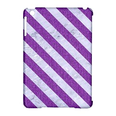 Stripes3 White Marble & Purple Denim Apple Ipad Mini Hardshell Case (compatible With Smart Cover)
