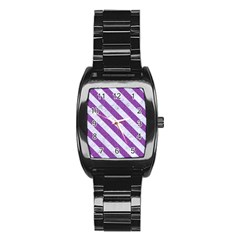 Stripes3 White Marble & Purple Denim Stainless Steel Barrel Watch by trendistuff