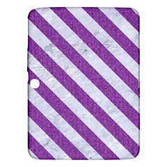 Stripes3 White Marble & Purple Denim Samsung Galaxy Tab 3 (10 1 ) P5200 Hardshell Case